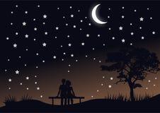 Vetor romântico da paisagem da noite da silhueta ilustração stock