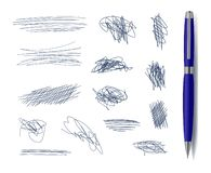 Vetor Scribble Freehand Drawn Elements with Blue Pen Isolated. royalty free illustration