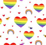 Vector seamless patttern with rainbow hearts. Pride day. vector illustration