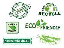 Vetor, selos da ecologia e série dos ícones Foto de Stock Royalty Free