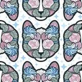 Vetor sem emenda Cat Pattern no estilo abstrato com sugestões do azul e do rosa Fotografia de Stock Royalty Free