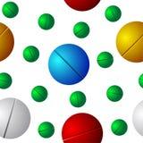 Vetor sem emenda colorido dos comprimidos Imagens de Stock