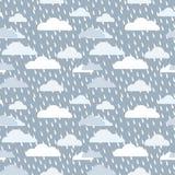 Vetor sem emenda da gota azul má da chuva da nuvem do vectordark do guarda-chuva da chuva pesada do dia ilustração stock