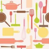 Vetor sem emenda de ferramentas da cozinha. Fotografia de Stock Royalty Free