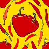 Vetor sem emenda do coração da pimenta Foto de Stock