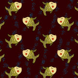 Vetor sem emenda do teste padrão da ilustração dos peixes de mar Foto de Stock Royalty Free