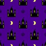 Vetor sem emenda do teste padrão do Dia das Bruxas do castelo Fotos de Stock
