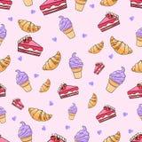 Vetor sem emenda do teste padrão do gelado do bolo do croissant Imagem de Stock
