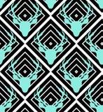 Vetor sem emenda dos cervos no fundo geométrico branco preto Imagem de Stock