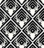 Vetor sem emenda dos cervos no fundo geométrico branco preto Imagens de Stock