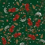 Vetor sem emenda sazonal do teste padrão da neve do inverno no projeto macio da flor do jardim e bonito delicado do humor para a  fotografia de stock royalty free