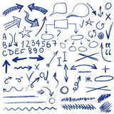 VETOR set of sketched icons. Elements for text correction or planning. Blue color Stock Photography