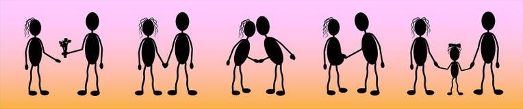 Vetor, silhuetas de um par novo no amor, uma história do amor e a criação de um family_ ilustração stock