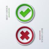 Vetor sim ou nenhuns ícones do círculo Fotos de Stock Royalty Free