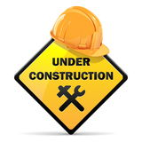 Vetor sob o sinal da construção com capacete Fotos de Stock