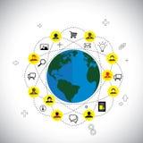 Vetor social do conceito dos meios & da rede feito de ícones lisos do projeto ilustração royalty free