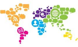 Vetor social do mapa de mundo dos media Imagem de Stock