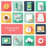 Vetor social dos ícones da Web dos meios Imagem de Stock