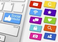 Vetor social dos ícones dos meios Imagem de Stock Royalty Free