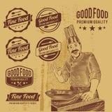 Vetor superior dos crachás do alimento do vintage ilustração stock