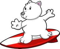 Vetor surfando do urso polar ilustração stock