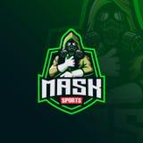 Vetor tóxico do projeto do logotipo da mascote do masker com estilo moderno do conceito da ilustração para a impressão do crachá, ilustração stock