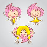 Vetor tailandês doce dos desenhos animados dos doces da menina do caráter Fotografia de Stock Royalty Free