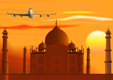 Vetor Taj Mahal, por do sol, jato. Foto de Stock