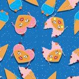 Vetor, teste padrão sem emenda, alimento do kawaii dos desenhos animados Gelado em cones do waffle Cópia sem emenda para a tela,  ilustração royalty free