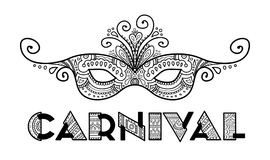 Vetor tirado mão da máscara do carnaval Imagem de Stock Royalty Free