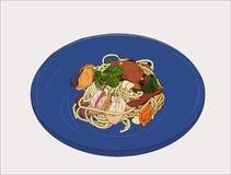 Vetor tirado mão do esboço dos espaguetes dos Pepperoni ilustração royalty free