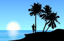 Vetor tropical da paisagem da ilha de um homem que está ao lado da palma t ilustração do vetor