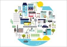 Vetor - uma cidade do círculo com mão agradável e original Ilustração Stock