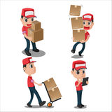 Vetor uniforme vermelho da entrega do caráter do homem Imagem de Stock