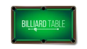 Vetor vazio da tabela de bilhar Tabela de sinuca verde do jogo Vista superior Isolado na ilustração branca do fundo ilustração royalty free