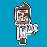 Vetor velho do projeto de Icon Retro Cartoon do cientista ilustração royalty free