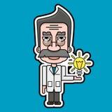 Vetor velho do projeto de Icon Retro Cartoon do cientista ilustração do vetor