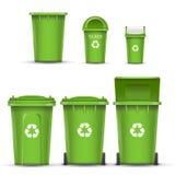 Vetor verde da cubeta do escaninho de reciclagem para o lixo de vidro Aberto e fechado Front View Seta do sinal Ilustração isolad ilustração stock