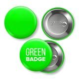 Vetor verde do modelo do crachá Pin Brooch Green Button Blank Dois lados Parte dianteira, vista traseira Projeto de marcagem com  ilustração royalty free