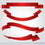 Vetor vermelho ajustado das fitas Eps 10 ilustração royalty free