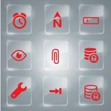 Vetor vermelho da coleção dos ícones Imagens de Stock Royalty Free