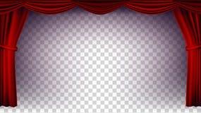 Vetor vermelho da cortina do teatro Fundo transparente Cartaz para o concerto, o teatro, o Opera ou a fase de seda vazia do cinem ilustração stock