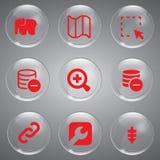 Vetor vermelho de 9 ícones Imagens de Stock