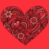 Vetor vermelho delicado do coração de Paisley do Henna Fotos de Stock
