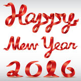 Vetor vermelho do ano novo feliz 2016 da fita Imagem de Stock