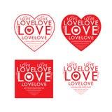 Vetor vermelho do coração do texto do amor Fotos de Stock Royalty Free