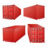 vetor vermelho do recipiente de carga 3D Recipiente de carga clássico Conceito do transporte do frete Logística, zombaria do tran ilustração stock