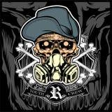 Vetor vestindo da máscara do chapéu e de gás do crânio ilustração stock