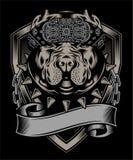 Vetor vestindo do desenho da mão do bandana do pitbull ilustração royalty free