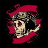 Vetor vestindo do desenho da mão do capacete do crânio ilustração royalty free